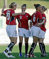 Ferreiras, PORTUGAL: Carli Lloyd (C) is celebrated by her teammates after scoring the  goal against Finland at the Nora Stadium in Ferreiras, March 09 of 2007, during the Algarve Women´s Cup soccer match between USA and Finland. USA won 1-0. Paulo Cordeiro/International Sports Image
