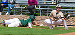 BEACON FALLS, CT 050621JS06 —Holy Cross' Luke Daddona (15) dives back safely to first base as Woodland's Zach Drewry (16) catches the throw during their key NVL match up Thursday at Woodland Regional High School.<br /> Jim Shannon Republican American