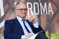 The candidate mayor of Rome at the next elections, Roberto Gualtieri during a confrontation at the Acquario Romano, during the 'Festival del'Architettura'.<br /> Rome (Italy), July 29th 2021<br /> Photo Samantha Zucchi Insidefoto