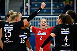 18.10.2020, Sporthalle Berg Fidel, Muenster<br /> Volleyball, Bundesliga Frauen, Normalrunde, USC Münster / Muenster vs. Rote Raben Vilsbiburg<br /> <br /> Jubel Jodie Guilliams (#15 Vilsbiburg), Jazmine White (#16 Vilsbiburg), Simona Dammer (#2 Vilsbiburg), Danielle Brisebois (#4 Vilsbiburg)<br /> <br />   Foto © nordphoto / Kurth