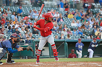 Springfield Cardinals Alberto Triunfel (5) bats during a Texas League game against the Frisco RoughRiders on May 4, 2019 at Dr Pepper Ballpark in Frisco, Texas.  (Mike Augustin/Four Seam Images)