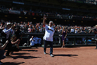 SAN FRANCISCO, CA - AUGUST 11:  Former San Francisco Giants player Dave Dravecky waves to the crowd during a ceremony honoring the 1989 Giants during a 30 year team reunion before the game between the Philadelphia Phillies and San Francisco Giants at Oracle Park on Sunday, August 11, 2019 in San Francisco, California. (Photo by Brad Mangin)