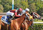 8.13.10 Interactif wins in a thrilling three horse blanket finish in the National Racing Museum Hall of Stakes over Grand Rapport and Krypton
