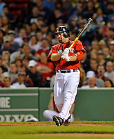 8 June 2012: Boston Red Sox infielder Kevin Youkilis in action against the Washington Nationals at Fenway Park in Boston, MA. The Nationals defeated the Red Sox 7-4 in the opening game of their 3-game series. Mandatory Credit: Ed Wolfstein Photo