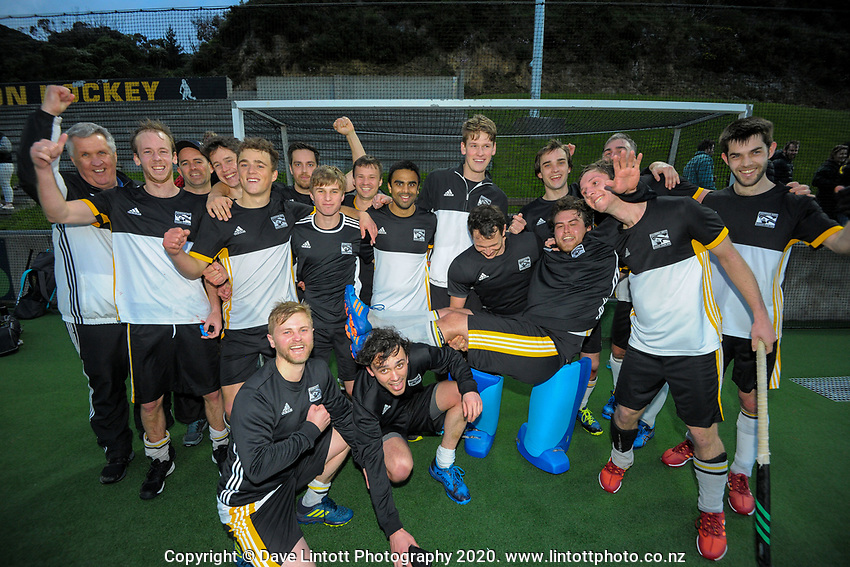 The Harbour City team after the men's premier one Wellington Hockey final between Dalefield and Harbour City at National Hockey Stadium in Wellington, New Zealand on Saturday, 26 September 2020. Photo: Dave Lintott / lintottphoto.co.nz