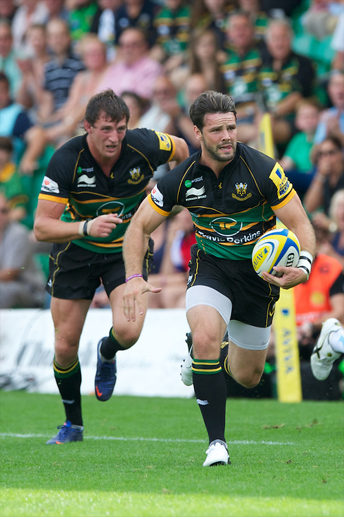 Ben Foden of Northampton Saints in action during the Aviva Premiership match between Northampton Saints and Exeter Chiefs at Franklin's Gardens on Sunday 9th September 2012 (Photo by Rob Munro)
