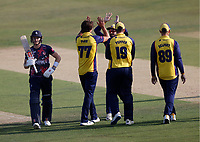 Jack Plom of Essex is congratulated after taking the wicket of Sam Billings (L) during Kent Spitfires vs Essex Eagles, Vitality Blast T20 Cricket at The Spitfire Ground on 18th September 2020