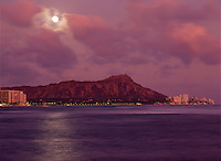 Full Moon rising over Diamond Head, at sunset.