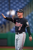 Ball State Cardinals head coach Rich Maloney (2) directs the defense during a game against the Alabama State Hornets on February 18, 2017 at Spectrum Field in Clearwater, Florida.  Ball State defeated Alabama State 3-2.  (Mike Janes/Four Seam Images)