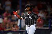 Reading Fightin Phils Cornelius Randolph (2) celebrates hitting a home run that would be overturned by the field umpire during an Eastern League game against the Trenton Thunder on August 16, 2019 at FirstEnergy Stadium in Reading, Pennsylvania.  Trenton defeated Reading 7-5.  (Mike Janes/Four Seam Images)