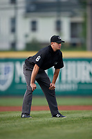 Umpire Derek Thomas during an Eastern League game between the Portland Sea Dogs and Erie SeaWolves on June 17, 2019 at UPMC Park in Erie, Pennsylvania.  Portland defeated Erie 6-3.  (Mike Janes/Four Seam Images)