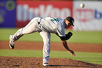 Carlos Misell #34 of the Clinton LumberKings pitches against the Burlington Bees at Community Field  on July 3, 2014 in Burlington, Iowa. The LumberKings beat the Bees 6-5.   (Dennis Hubbard/Four Seam Images)