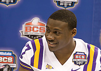 Morris Claiborne of LSU smiles while talking with the reporters during BCS Media Day at Mercedes-Benz Superdome in New Orleans, Louisiana on January 6th, 2012.