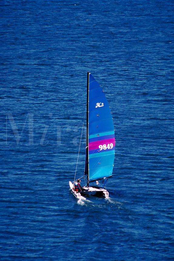 Hobie 18 catamaran sails placidly away on a blue lake. boats, sailing. Utah, Deer Creek Reservoir.