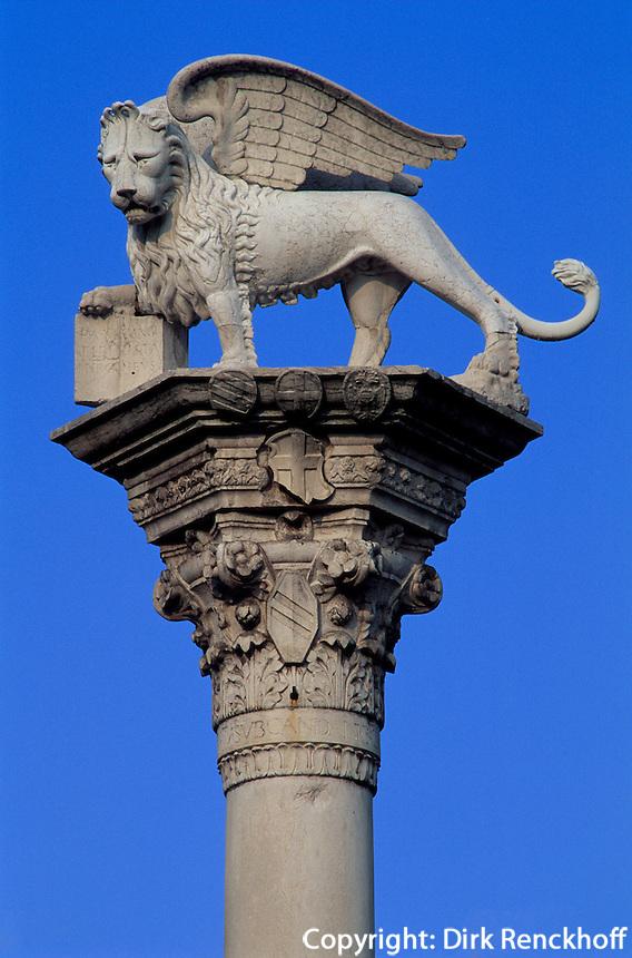 Säulen mit Markuslöwe,  Piazza dei Signorie, Vicenza, Venetien-Friaul, Italien, Unesco-Weltkulturerbe