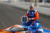 #9: Scott Dixon, Chip Ganassi Racing Honda celebrates winning the NTT P1 Award and the pole position