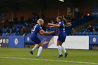 2nd May 2021; Kingsmeadow, London, England; Fran Kirby and Pernille Harder Chelsea celebrate the first goal during the UEFA Womens Champions League Semi Final game between Chelsea and Bayern Munich at Kingsmeadow