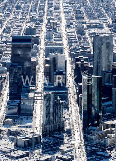 Denver Colorado, winter aerial of downtown.  Jan 2, 2015