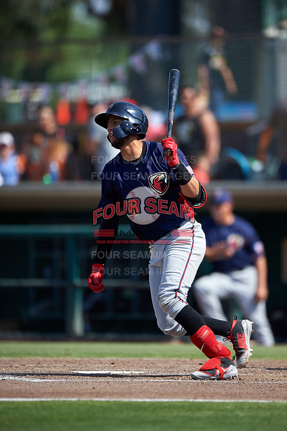 Lancaster JetHawks catcher Joel Diaz (5) follows through on his swing during a California League game against the Inland Empire 66ers at San Manuel Stadium on May 20, 2018 in San Bernardino, California. Inland Empire defeated Lancaster 12-2. (Zachary Lucy/Four Seam Images)