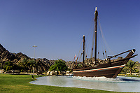 Muscat, Oman.  Omani Dhow, the Sohar, which sailed to China in 1980, duplicating an 8th.-century Omani voyage.  Al-Bustan Roundabout.