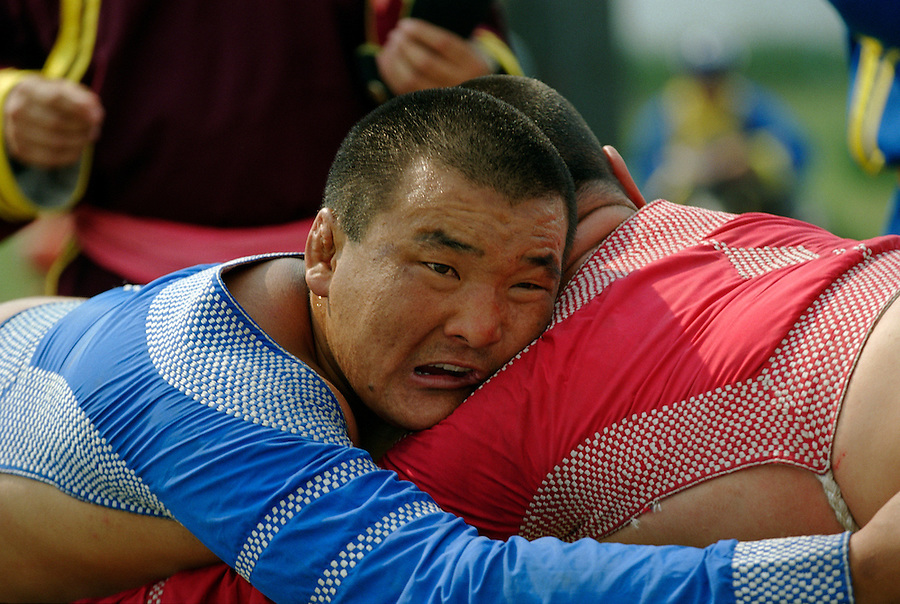 Zuunmod, Mongolia, July 2003..Competitors and spectators at the Mongolian Wrestling contests in the Llama Naadam.