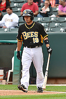 Vance Albitz (19) of the Salt Lake Bees at bat against the Memphis Redbirds at Smith's Ballpark on June 18, 2014 in Salt Lake City, Utah.  (Stephen Smith/Four Seam Images)