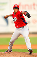 Orem Owlz starting pitcher Gabriel Perez (45) in action against the Ogden Raptors at Lindquist Field on July 29, 2012 in Ogden, Utah.  The Owlz defeated the Raptors 6-4.   (Brian Westerholt/Four Seam Images)