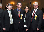 """SOUTHBURY, CT - 1 April 2004 - 040104TH07 -  Three United Way 2004 Allocation Chairs Forrest Hanson of Waterbury and Webster Bank, Richard Kociszewski of Wolcott and New Opportunities Inc., and Richard Bulkovitch, United Way volunteer out of Middlebury, pose with United Way Director of Community Services, JoAnn Reynolds-Balandy, at the United Way of Greater Waterbury """"Digging Deeper"""" Campaign 2003-04 Awards Dinner held at the Southbury Hilton Hotel Thursday night.  TODD HOUGAS PHOTO"""