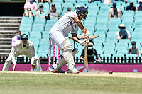 11th January 2021; Sydney Cricket Ground, Sydney, New South Wales, Australia; International Test Cricket, Third Test Day Five, Australia versus India; Cheteshwar Pujara of India digs  out the ball