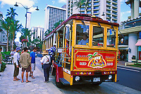 The Waikiki  Red Line Trolley takes visitors on guided tours around the Waikiki / Honolulu area.