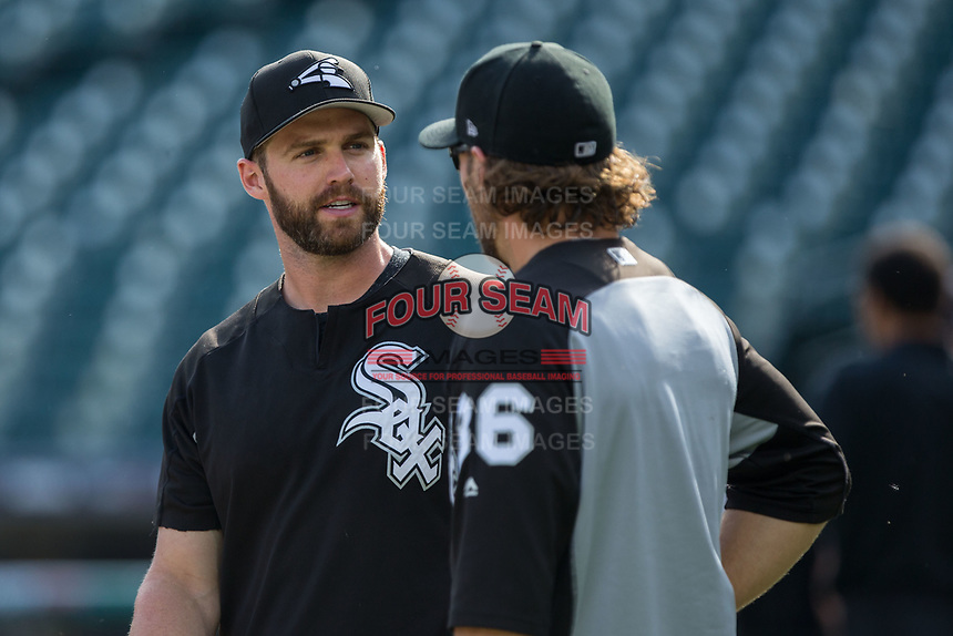 Matt Davidson (left) of the Chicago White Sox chats with teammate Kevan Smith (36) prior to the game against the Detroit Tigers at Comerica Park on June 2, 2017 in Detroit, Michigan.  The Tigers defeated the White Sox 15-5.  (Brian Westerholt/Four Seam Images)