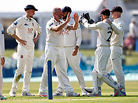 Darren Stevens (C) of Kent is congratulated after taking the wicket of Ed Barnard during Kent CCC vs Worcestershire CCC, LV Insurance County Championship Division 3 Cricket at The Spitfire Ground on 5th September 2021