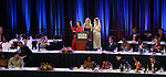 Ashley Park, Kate Rockwell and Taylor Louderman on stage during the 2018 Drama League Awards at the Marriot Marquis Times Square on May 18, 2018 in New York City.