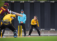Xara Jetly bowls to Eimear Richardson during the women's Hallyburton Johnstone Shield one-day cricket match between the Wellington Blaze and Northern Districts at the Basin Reserve in Wellington, New Zealand on Saturday, 21 November 2020. Photo: Dave Lintott / lintottphoto.co.nz