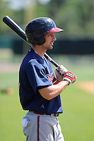 Outfielder Keith Curcio (27) of the Atlanta Braves farm system in a Minor League Spring Training workout on Monday, March 16, 2015, at the ESPN Wide World of Sports Complex in Lake Buena Vista, Florida. (Tom Priddy/Four Seam Images)