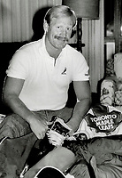 1985 FILE PHOTO - ARCHIVES -<br /> <br /> Off to Quebec: John Anderson, traded to Quebec Nordiques for defenceman Brad Maxwell yesterday, was the Nords' first draft choice in 1977, but he then preferred the Leafs.<br /> <br /> 1985<br /> <br /> PHOTO :  Collin McConnell - Toronto Star Archives - AQP