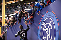 BRONX, NY - Sunday March 13, 2016: New York City FC takes on Toronto FC in their home opener at home at Yankee Stadium in 2016 regular season MLS play.