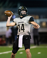 Lawson Gunn (14) of  Little Rock Central looks for receiver downfield against Fayettville at Harmon Stadium, Fayetteville, Arkansas on Friday, November 13, 2020 / Special to NWA Democrat-Gazette/ David Beach