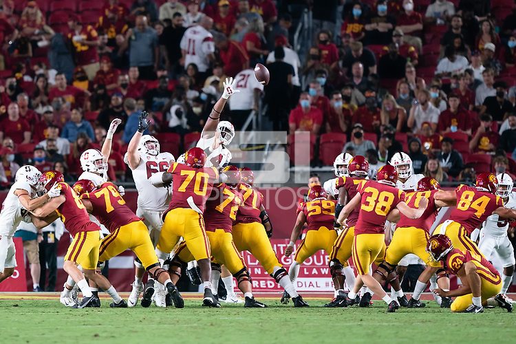 LOS ANGELES, CA - SEPTEMBER 11: Branson Bragg, Thomas Booker during a game between University of Southern California and Stanford Football at Los Angeles Memorial Coliseum on September 11, 2021 in Los Angeles, California.