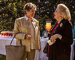 October 26, 2017. Raleigh, North Carolina.<br /> <br /> Debbie Winterbauer, left, spoke with Jo Cresimore after the dedication ceremony.<br /> <br /> A new garden designed by Ben Skelton containing native Plants For Birds was dedicated at the North Carolina Executive Mansion.
