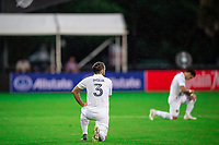 LAKE BUENA VISTA, FL - JULY 23: Emiliano Insua #3 of the LA Galaxy  before the game during a game between Los Angeles Galaxy and Houston Dynamo at ESPN Wide World of Sports on July 23, 2020 in Lake Buena Vista, Florida.