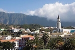 Spain, Canary Islands, La Palma, El Paso: overview with village church