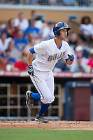Hak-Ju Lee (3) of the Durham Bulls hustles down the first base line against the Louisville Bats at Durham Bulls Athletic Park on August 9, 2015 in Durham, North Carolina.  The Bulls defeated the Bats 9-0.  (Brian Westerholt/Four Seam Images)