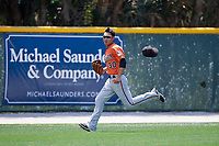 Baltimore Orioles Guiyuan Xu (30) pursues a ball during a minor league Spring Training game against the Tampa Bay Rays on March 29, 2017 at the Buck O'Neil Baseball Complex in Sarasota, Florida.  (Mike Janes/Four Seam Images)