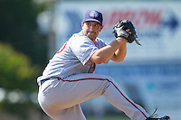 Hagerstown Suns relief pitcher Robert Orlan (40) in action against the Kannapolis Intimidators at CMC-Northeast Stadium on June 1, 2014 in Kannapolis, North Carolina.  The Intimidators defeated the Suns 5-1 in game one of a double-header.  (Brian Westerholt/Four Seam Images)