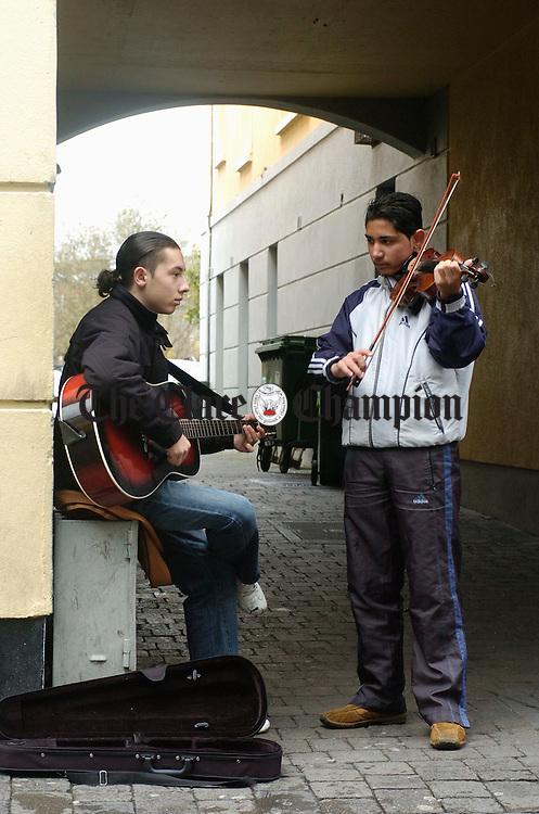 Slovakian cousins Roman and Patrick busking opn Parnell street last week. Photograph by John Kelly
