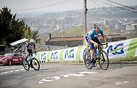 Iván García Cortina (ESP/Movistar) up the infamous Mur de Huy<br /> <br /> 85th La Flèche Wallonne 2021 (1.UWT)<br /> 1 day race from Charleroi to the Mur de Huy (BEL): 194km<br /> <br /> ©kramon