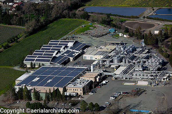 aerial photograph of a rooftop solar power installation at a winery in Napa County, California