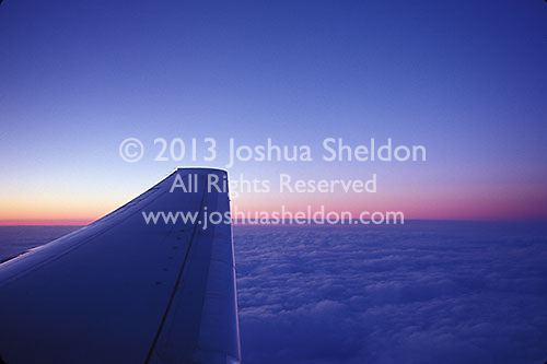 Airplane wing and sunset<br />