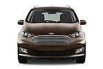 Car photography straight front view of a 2015 Ford Grand C-Max Titanium 5 Door Mini Mpv Front View